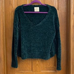 Hollister Off the Shoulder Green Sweater Size M